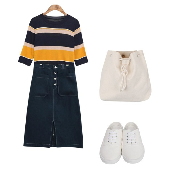 common unique [SKIRT] 4 BUTTON FRONT SLIT STITCH SKIRT,From Beginning Cotton sneakers mule_S (size : 225,230,235,240,245,250),common unique [TOP] AVA STRIPE HALF SLEEVE KNIT등을 매치한 코디