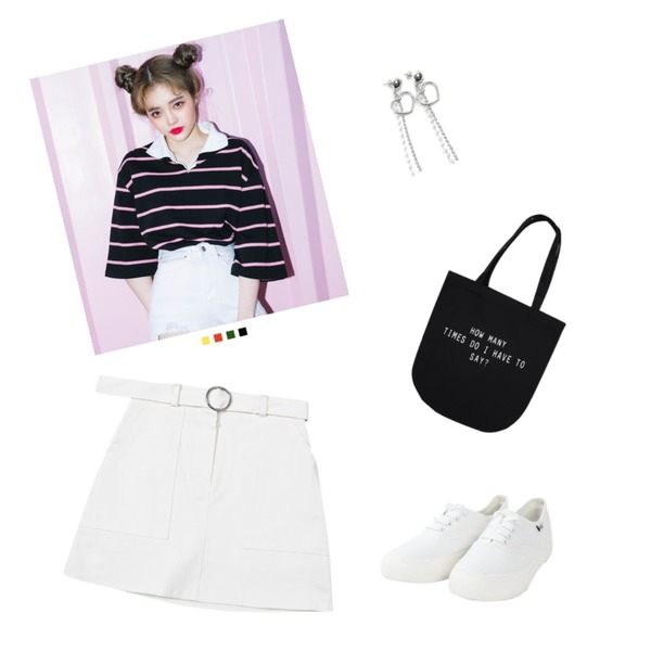 TWEE Circle belt cotton skirt,MIXXMIX 앤 스트라이프 티셔츠,ROCOSIX heart string earring등을 매치한 코디