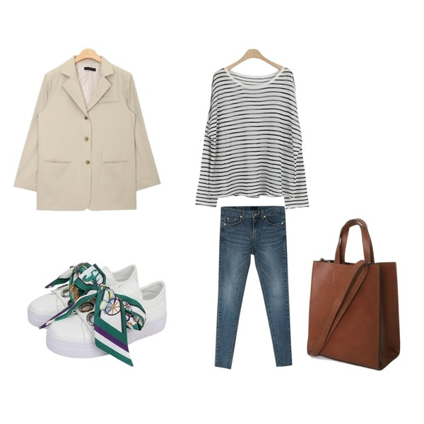 AIN overfit long 3 button jacket (2 colors),BANHARU natural washing skinny jean,LOOK CHIC stripe knit tee (4 color)등을 매치한 코디