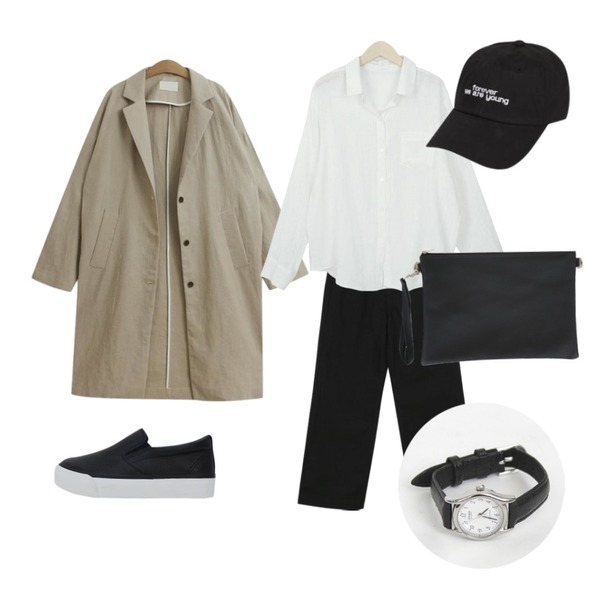 TODAY ME [coat]브레스 코트(린넨 롱 자켓st),From Beginning Clear boy-fit cotton pants_M (size : S,M,L),myblin 링클 린넨 셔츠 (4color)등을 매치한 코디