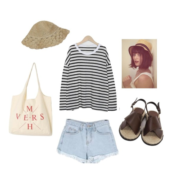 From Beginning Nature stripe round T_H (size : free),BULLANG GIRL 파이브프린지데님숏P,From Beginning X-cover espadrille belt sandal_H (size : 225,230,235,240,245,250)등을 매치한 코디