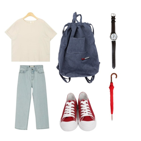 From Beginning Purcell cotton sneakers_M (size : 230,235,240,245,250),BANHARU 10-length straight denim pants,AIN roll up sleeve blouse등을 매치한 코디