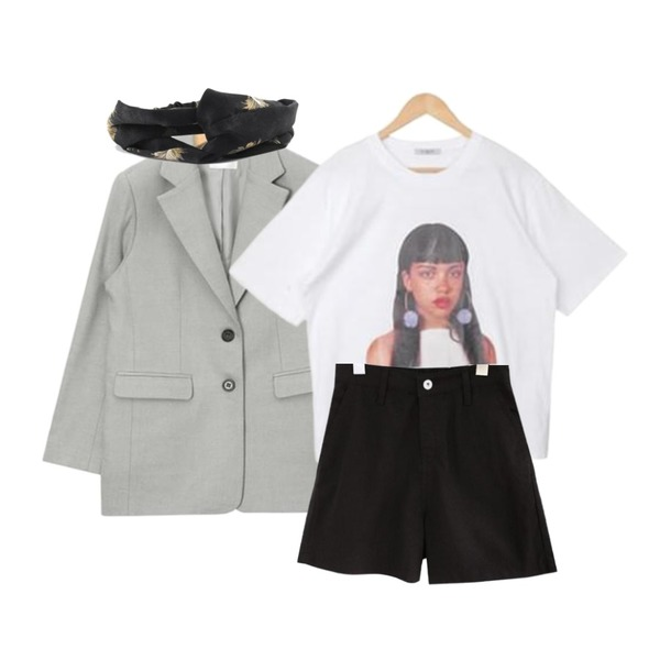 AIN mannish 2-button jacket (2 colors),common unique [BOTTOM] TENDER LINEN BANDING SHORTS,GARCONNE 어메이징 프린팅티셔츠 + 러쉬 롱코튼스커트등을 매치한 코디