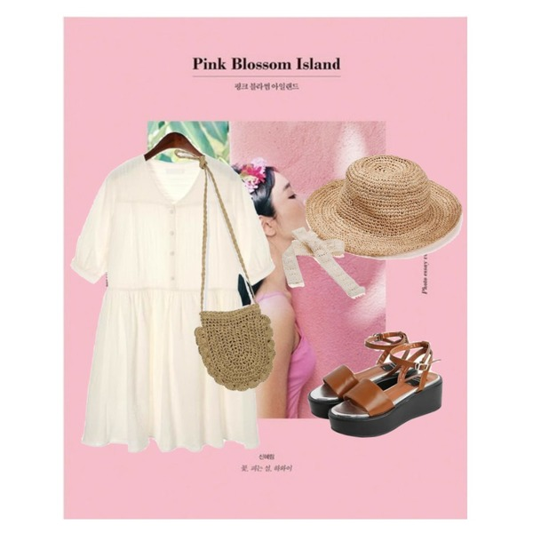 AIN Pink Blossom Island+The way to the North,From Beginning Charming straw mini bag_S (size : one),ROCOSIX sweet flare mini dress등을 매치한 코디