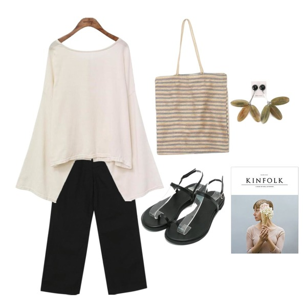 common unique [OUTER] TWO WAY RIBBON SWING ROBE,From Beginning Clear boy-fit cotton pants_M (size : S,M,L),daily monday Toe strap summer sandals등을 매치한 코디