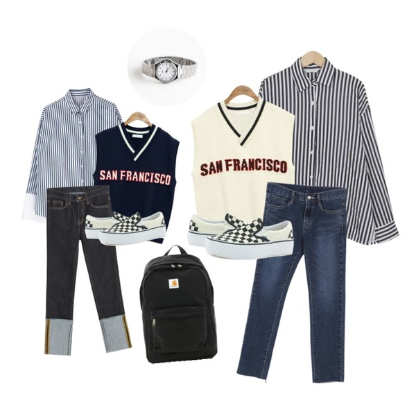 common unique [OUTER] SAN FRANCISCO LETTERING KNIT VEST,MIXXMIX 쏭 단가라 셔츠,From Beginning Slit stripe cotton shirts_H (size : free)등을 매치한 코디