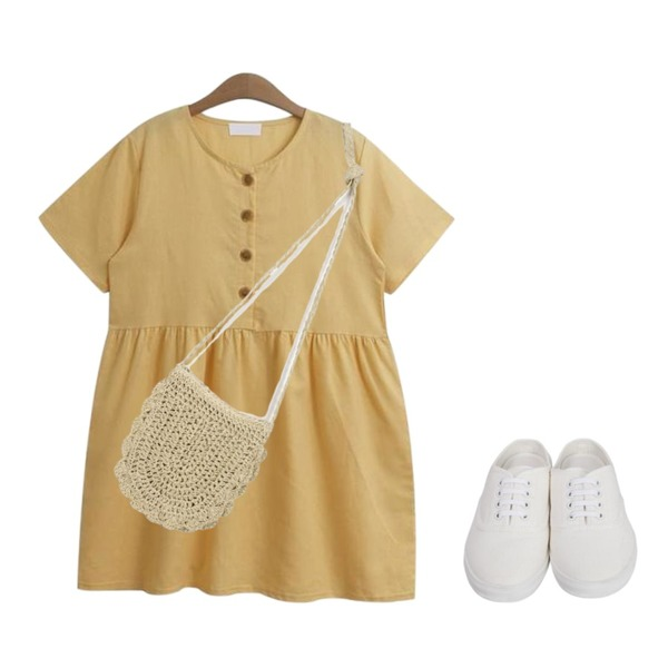 From Beginning Cotton sneakers mule_S (size : 225,230,235,240,245,250),From Beginning Charming straw mini bag_S (size : one),TODAY ME [dress]멜팅 원피스(린넨 버튼 셔링 베이비돌ops)등을 매치한 코디