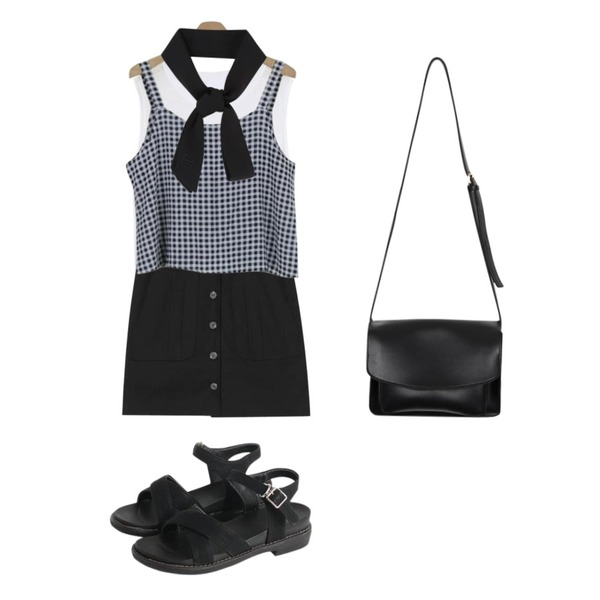 LOOK CHIC summer check two piece (2 color),LOOK CHIC linen sleeveless (4 color),AIN divide pocket button skirt등을 매치한 코디