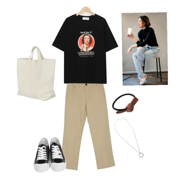 From Beginning Purcell cotton sneakers_M (size : 230,235,240,245,250),From Beginning Like it cotton T_M (size : free),BANHARU straight fit cotton pants등을 매치한 코디