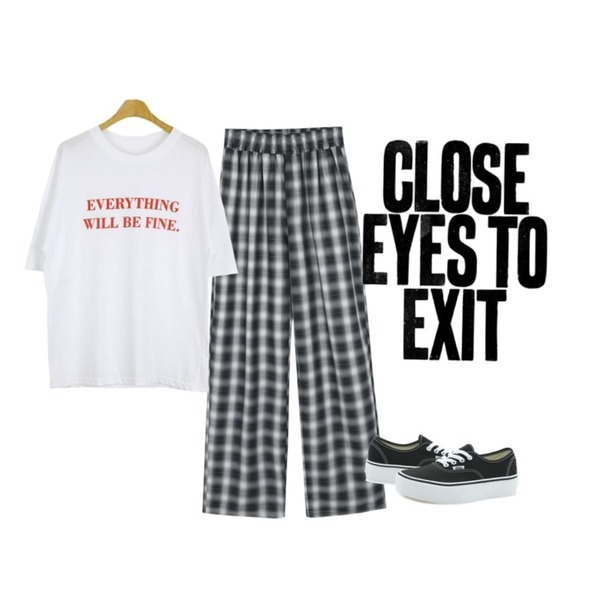 close eyes to exit,daily monday Unisex check banding pants,Player 반스 어센틱 플랫폼 2.0 블랙 (VANS AUTHENTIC PLATFORM 2.0)등을 매치한 코디