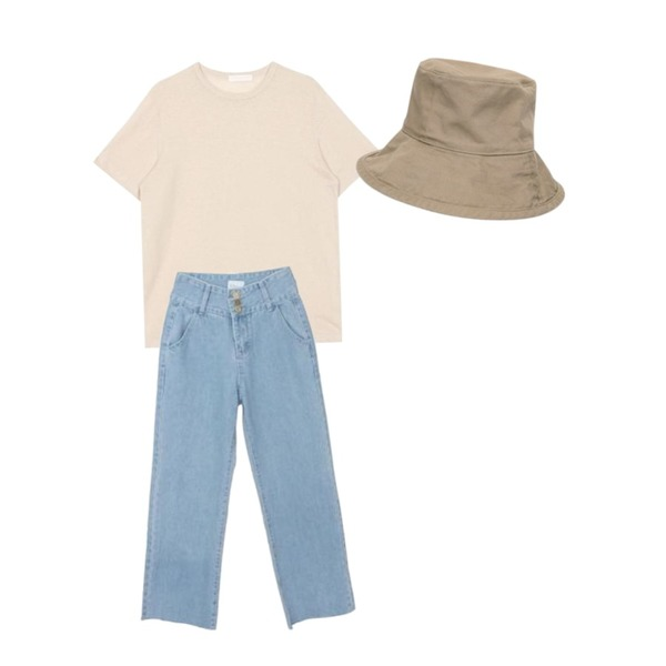 AIN wide bucket hat (4 colors),biznshoe Linen round tee (6color),GARCONNE 쓰리버튼 와이드데님팬츠등을 매치한 코디