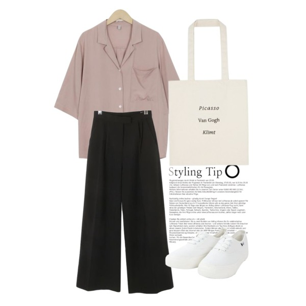 Untitled,ROCOSIX modern straight wide pants,From Beginning Soft feeling collar blouse_M (size : free)등을 매치한 코디