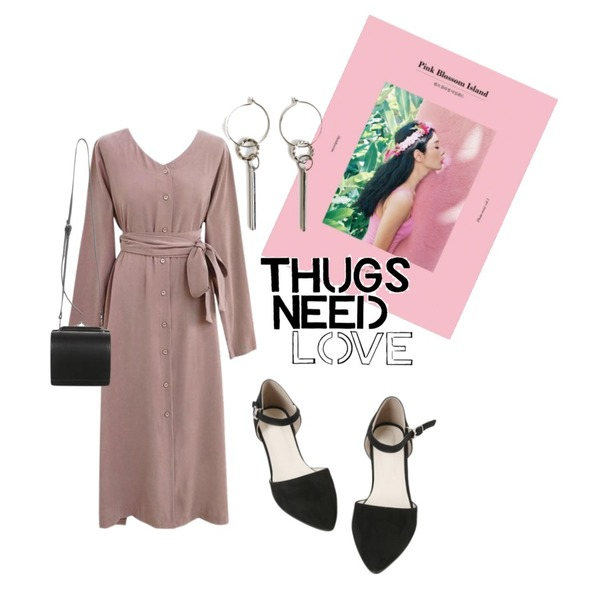 insta @thewriting,AIN Pink Blossom Island,common unique [OPS] PEACH STRAP V NECK LONG OPS등을 매치한 코디