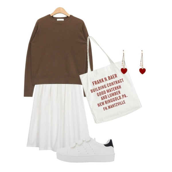 LOVELY SHOES 라라니 벨크로 스니커즈 (2.5cm),AIN cashmere wool long sleeve knit (3 colors),From Beginning Fresh balloon skirt_K (size : free)등을 매치한 코디