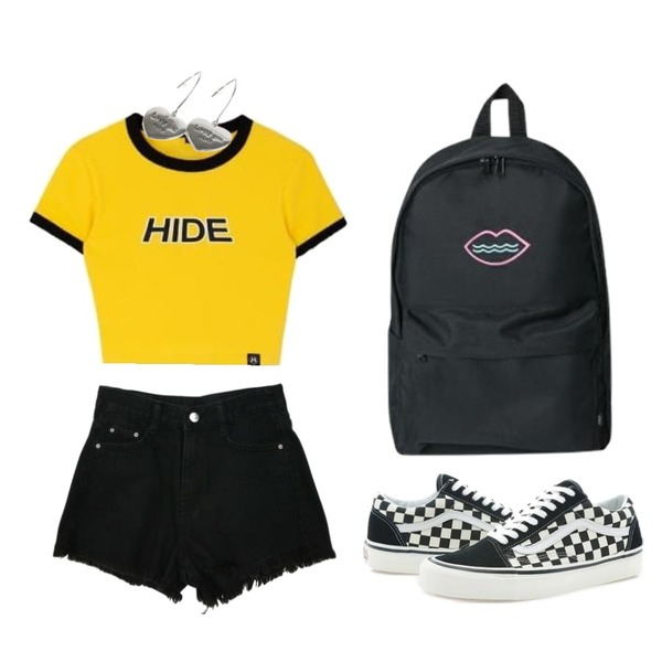 MIXXMIX HIDE Logo Color Crop Top,Zemma World Scopic-데님쇼츠[size:S,M,L / 1color],Player 반스 올드스쿨 애너하임 팩 체커 블랙 (VANS OLD SKOOL 36 DX)등을 매치한 코디