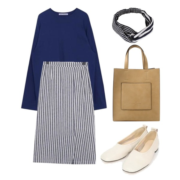 biznshoe Modern tote bag (6color),MIXXMIX 서울 와이드 탑(30),From Beginning Flute stripe midi skirt_K (size : free)등을 매치한 코디