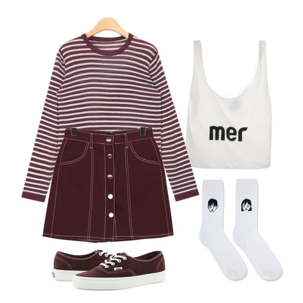 LINDA GIRLS 트왕 숄더 에코백 (3color),AIN daily stripe long sleeveless T,From Beginning Moon stitch button skirt_H (size : S,M)등을 매치한 코디