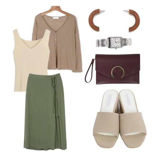 daily monday Linen long sleeve cardigan,LOOK CHIC v-neck knit sleeveless (3 color),myblin 레이어드 랩 리본 스커트 (3color)등을 매치한 코디