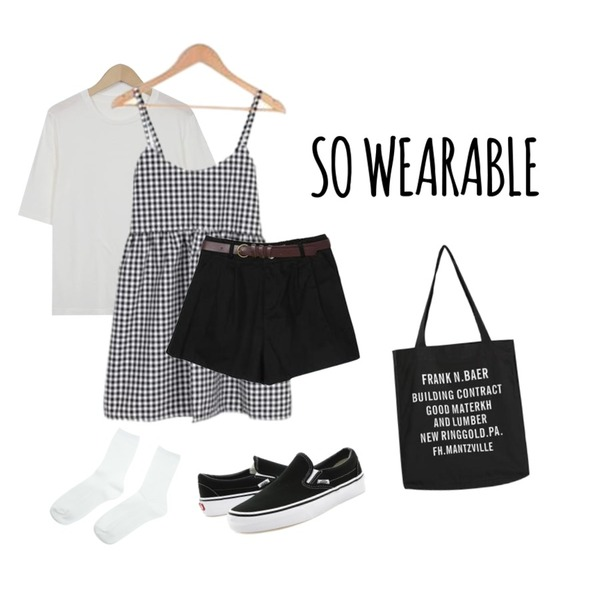 so wearable,BULLANG GIRL 더빙체크뷔스티에OPS,From Beginning Local basic soft T_K (size : free)등을 매치한 코디