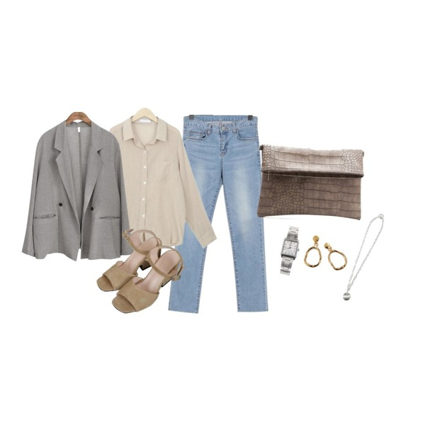 common unique [OUTER] BONITA DOUBLE BUTTON BOXY JACKET,myblin 링클 린넨 셔츠 (4color),From Beginning Sky washing slim jean_K (size : S,M,L)등을 매치한 코디