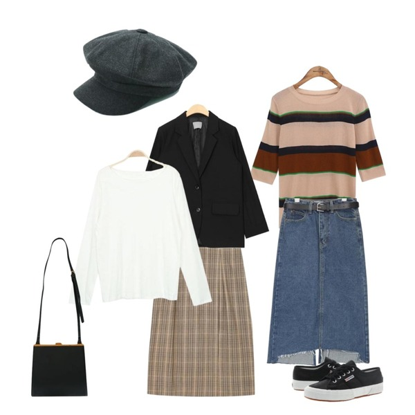 daily monday Soft plain hunting cap,common unique [TOP] AVA STRIPE HALF SLEEVE KNIT,AIN silent check long banding skirt등을 매치한 코디