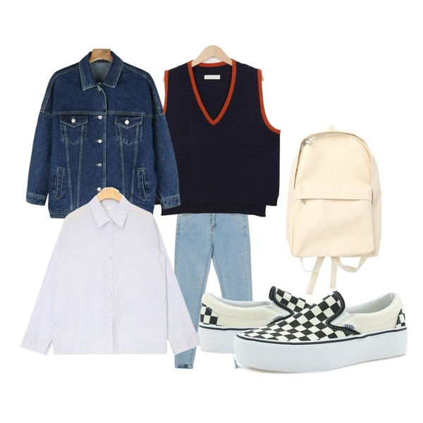 daily monday Casual boxy denim jacket,From Beginning Break damage skinny_M (size : 26,27,28,29,30),From Beginning A peanut knit vest_H (size : free)등을 매치한 코디