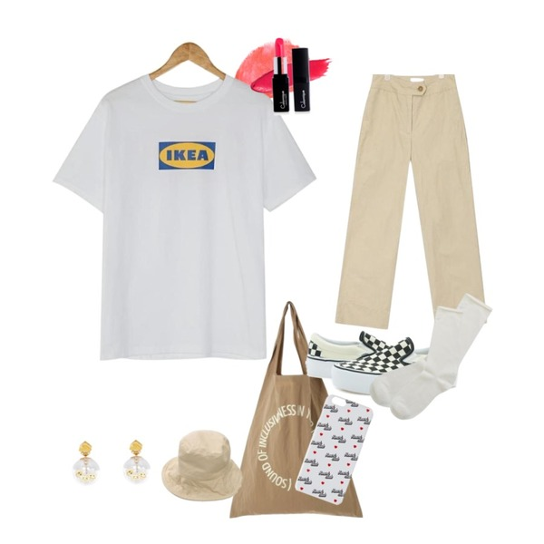 coral lip,ROCOSIX waterproof daily bag,AIN side close wide slacks (s, m)등을 매치한 코디