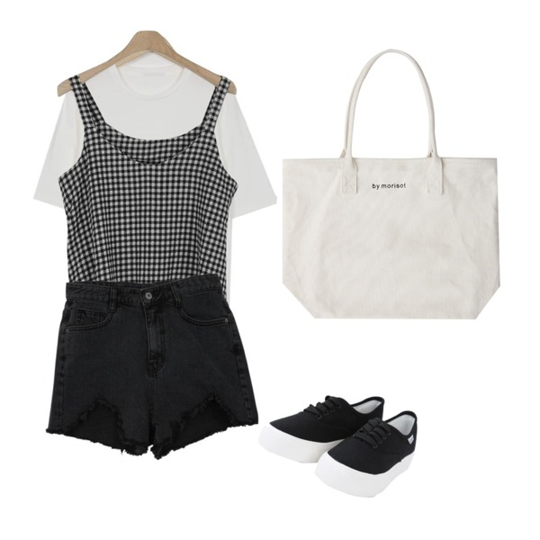 Zemma World Caret-데님쇼츠[size:S,M,L / 1color],LOOK CHIC summer check two piece (2 color),From Beginning Local basic soft T_K (size : free)등을 매치한 코디
