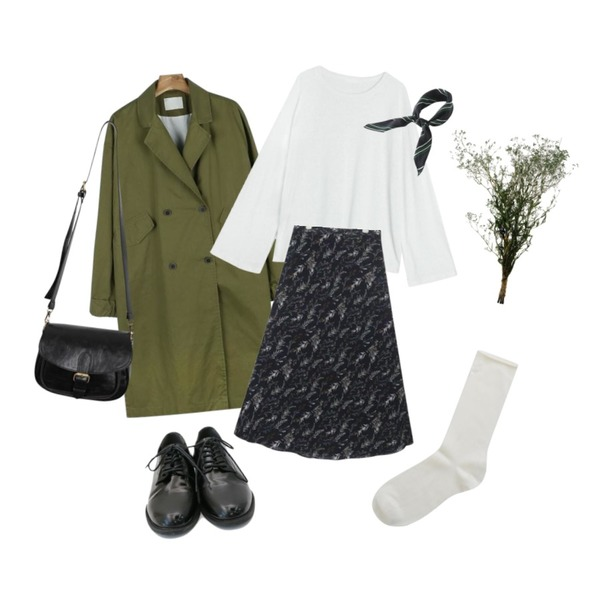 daily monday Casual sleeve point trench coat,AIN been flower pattern long skirt (s, m),BANHALA 쿠쿠 린넨티셔츠등을 매치한 코디