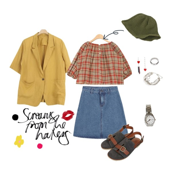 @thewriting,LOOK CHIC linen 1/2 jacket (3 color),AIN vintage check off shoulder blouse등을 매치한 코디