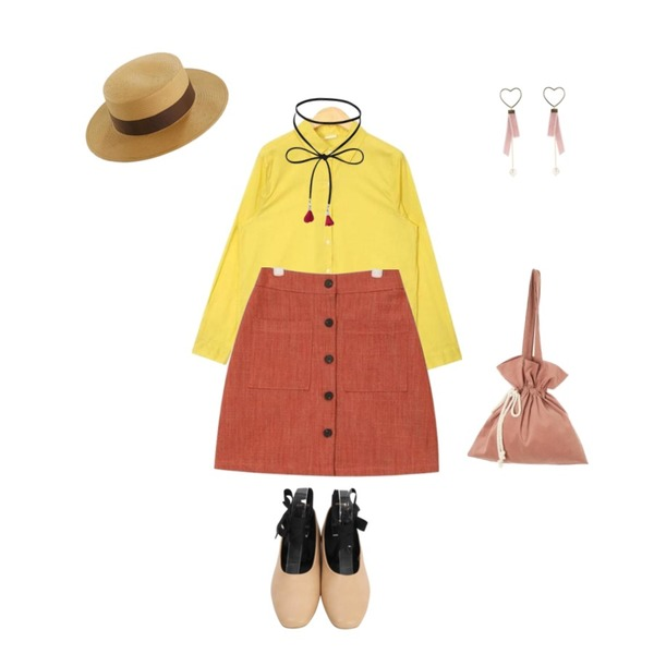 From Beginning Giselle strap flat shoes_M (size : 230,235,240,245,250),AIN rody soft thin shirts,AIN girlish front button skirt등을 매치한 코디