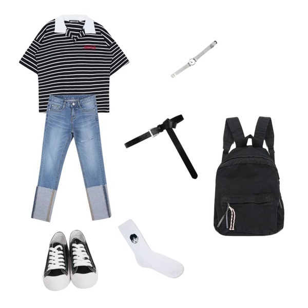 common unique [ACC] REMAIN WATCH,CHLO.D.MANON 와이드업 롤업 스키니,MIXXMIX Stripe Collar Top등을 매치한 코디