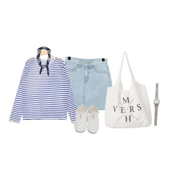 AIN lucky stripe summer long T (5 colors),From Beginning Wonder cutting denim skirt_S (size : S,M,L),From Beginning Boundary oxford loafer_K (size : 225,230,235,240,245,250)등을 매치한 코디