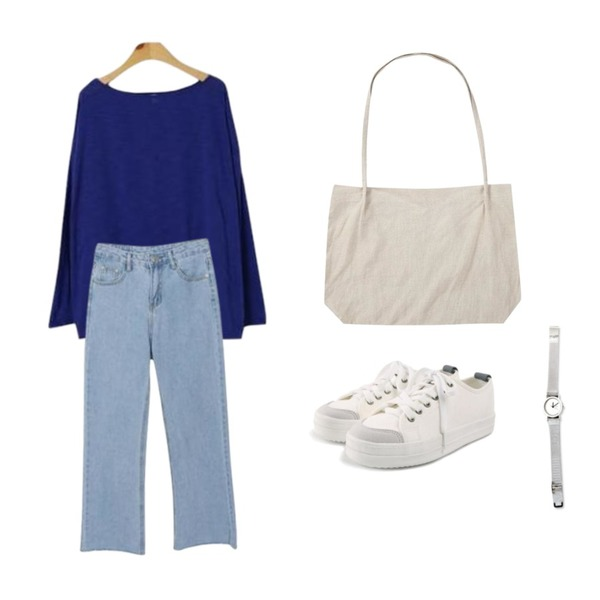 ROCOSIX daily chunky sneakers,From Beginning Floppy check cotton bag_H (size : one),BLINGIT 네츄럴슬라브긴팔티셔츠등을 매치한 코디