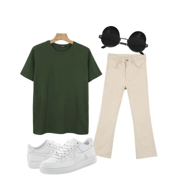 daily monday Daily vintage color tee,Player 나이키 에어 포스 1 로우 올백 08 GS (NIKE AIR FORCE 1 GS),MINIBBONG 룩 슬림부츠컷 린넨팬츠등을 매치한 코디