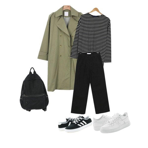 daily monday Double trench coat,BANHARU loose fit easy stripe tee,From Beginning Clear boy-fit cotton pants_M (size : S,M,L)등을 매치한 코디