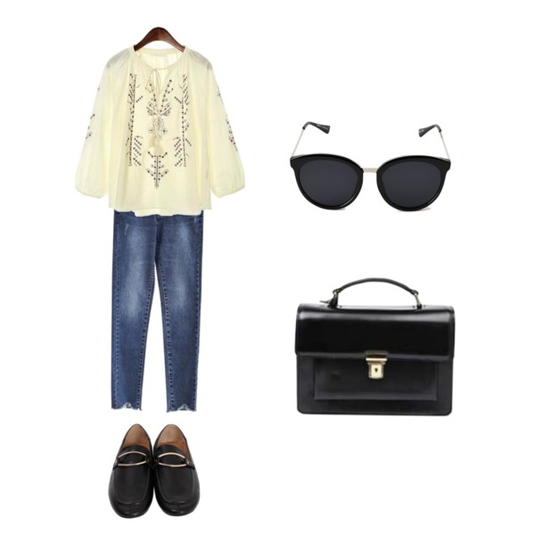 ROCOSIX stitch modern blouse,From Beginning Rich gold buckle loafer_K (size : 230,235,240,245,250),common unique [BOTTOM] STRAIGHT V CUTTING DENIM PANTS등을 매치한 코디