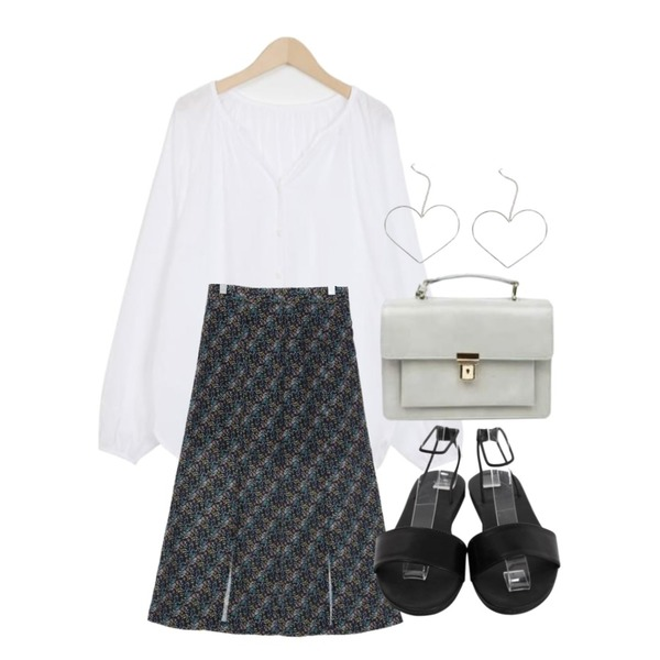 From Beginning Opening balloon blouse_B (size : free),AIN classy satchel shoulder bag,UPTOWN HOLIC 루이즈 sk (*3color)등을 매치한 코디
