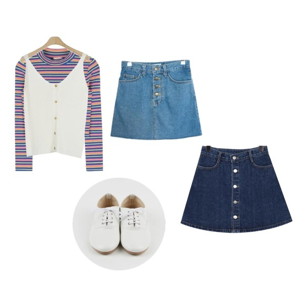 MIXXMIX ONLY MIX Vivid crop top,From Beginning Holy button denim skirt_K(size : S,M,L),GIRLS RULE 컷팅 데님 스커트 (sk689)등을 매치한 코디