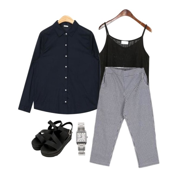 BULLANG GIRL 아방고방체크와이드P,ROCOSIX basic cool sleveless,AIN rody soft thin shirts등을 매치한 코디