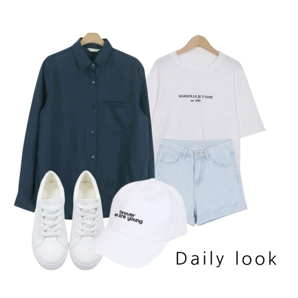 LOOK CHIC act linen nb (5 color),BANHALA [서희 PICK] 하이하이 팬츠,From Beginning Marseille wash cotton T_K (size : free)등을 매치한 코디
