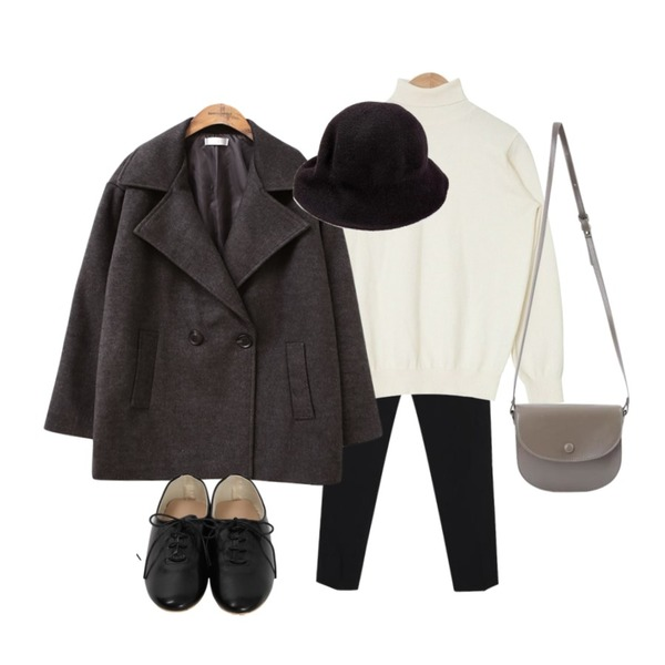 AIN simple high-quality polar knit (10 colors),common unique [OUTER] BIG COLLAR DOUBLE COAT,myblin 가벼운 슬림핏 슬랙스 (5color)등을 매치한 코디