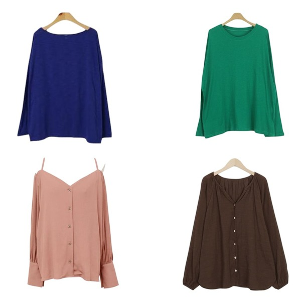 LOOK CHIC rolly tee (4 color),BLINGIT 네츄럴슬라브긴팔티셔츠,From Beginning Opening balloon blouse_B (size : free)등을 매치한 코디