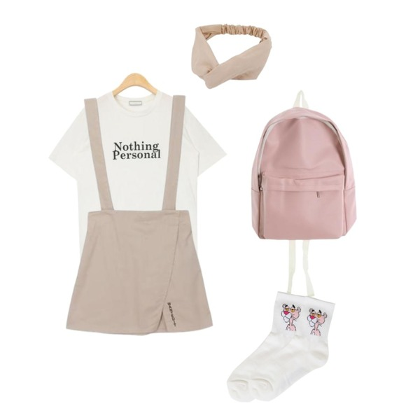 BULLANG GIRL 팬더칭구 양말,ROCOSIX simple 4color backpack,AIN nothing personal daily T등을 매치한 코디