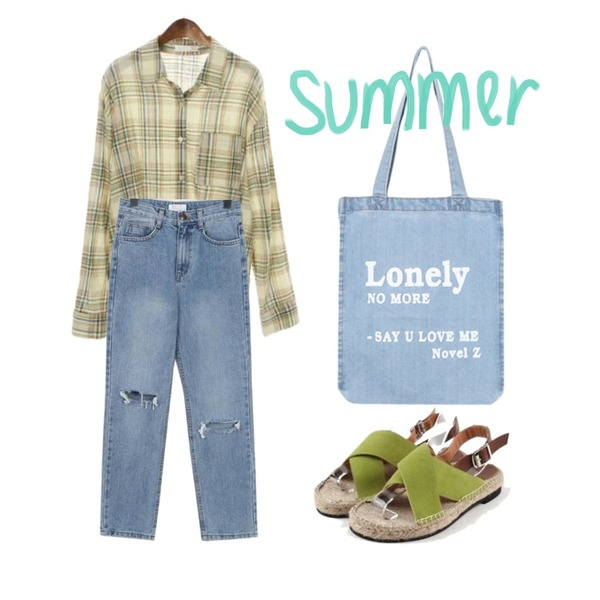 daily monday X-strap suede sandal,ROCOSIX casual check shirts,From Beginning Middle washing damage jean_S (size : S,M)등을 매치한 코디