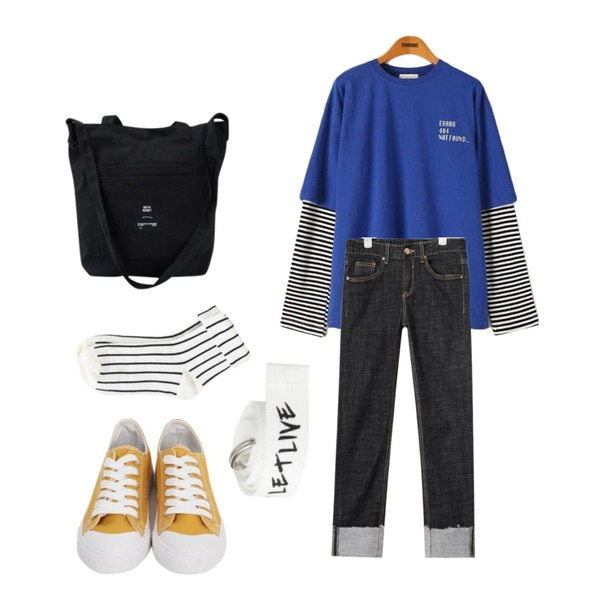 AIN deep color slim denim pants (2 colors),From Beginning Purcell cotton sneakers_M (size : 230,235,240,245,250),Reine 파운드 레터링 레이어드 티셔츠등을 매치한 코디