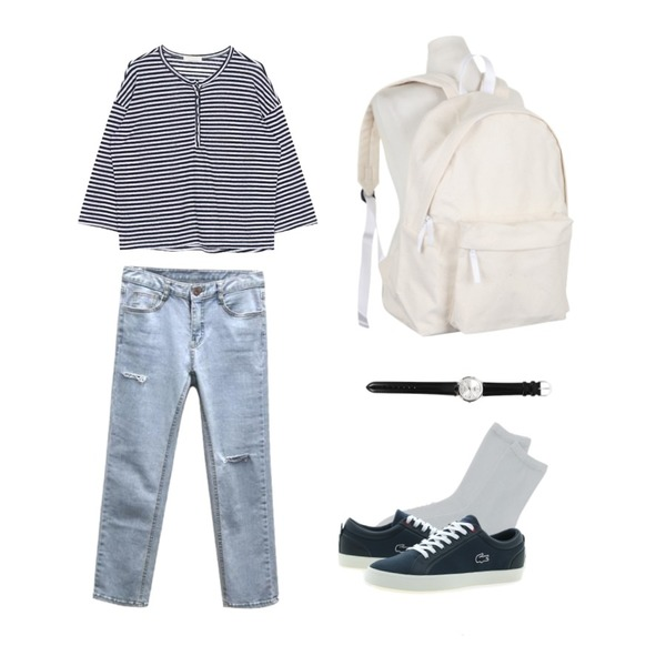 daily monday Glitter basic socks,GIRL WARS 투커팅 일자 데님팬츠,biznshoe Button stripe tee (2color)등을 매치한 코디