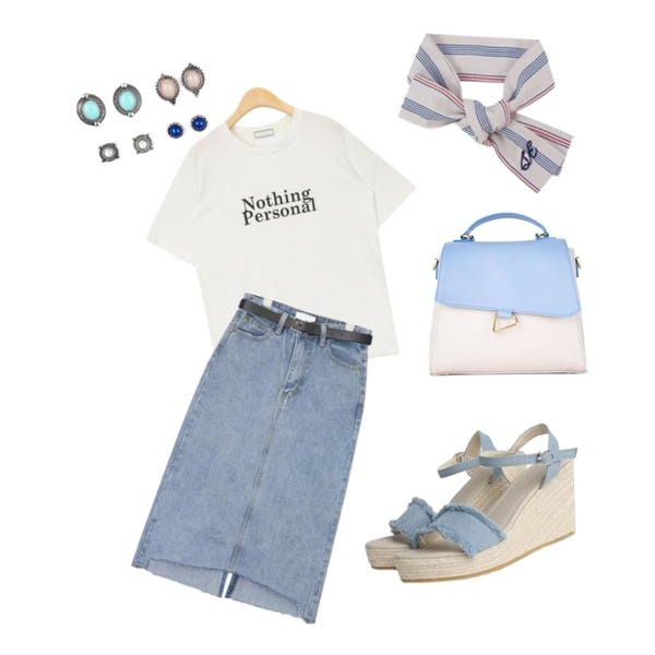 Monobabie [RS4260] 포에린8.5cm,AIN belt set H-line denim skirt (s, m),AIN nothing personal daily T등을 매치한 코디