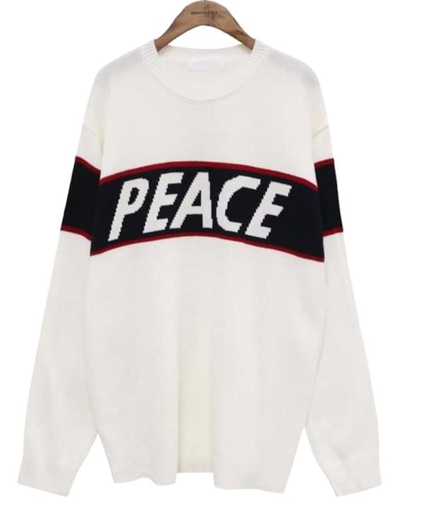 PEACE LETTERING ROUND KNIT