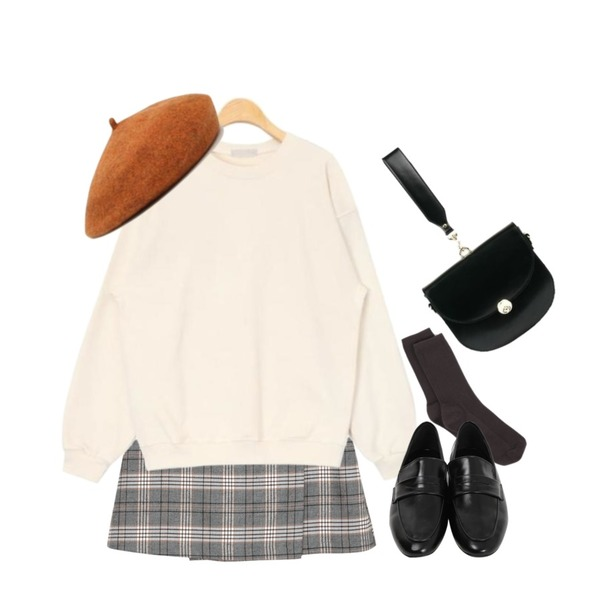 AIN golgi basic socks (7 colors),AIN basic color daily mtm,From Beginning Melody check culottes skirt_S (size : S,M)등을 매치한 코디